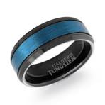 Tungsten Carbide Brushed Polished Band // Black + Blue (8.5)
