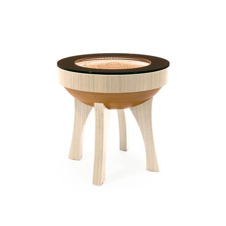 """22"""" Hard Wood Side Table // RGBW Lights (Maple Veneer)"""