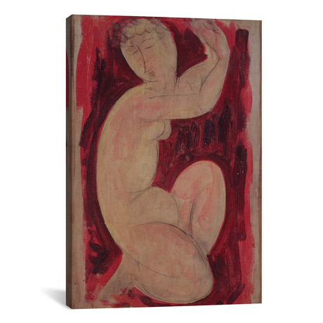 "Red Caryatid, 1913 // Amedeo Modigliani (26""W x 40""H x 1.5""D)"