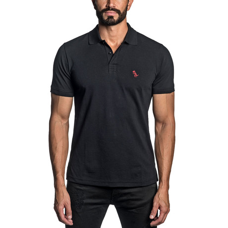 Dino Embroidered Knit Polo // Black (S)