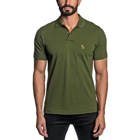 Dino Embroidered Knit Polo // Military Green (S)