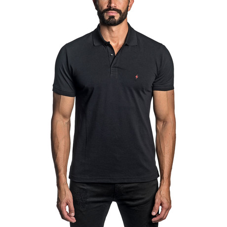 Lightning Bolt Embroidered Knit Polo // Black (S)