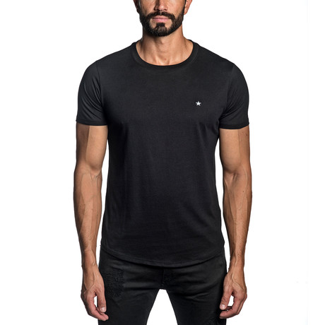 Star Embroidered T-Shirt // Black (S)