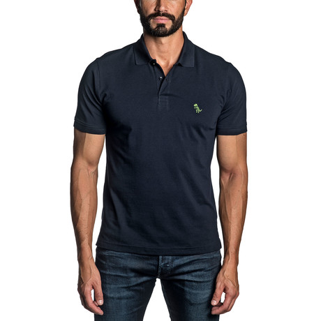 Dino Embroidered Knit Polo // Navy (S)