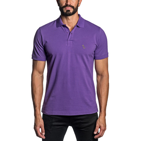 Dino Embroidered Knit Polo // Purple (S)