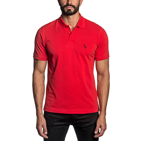 Dino Embroidered Knit Polo // Red (S)