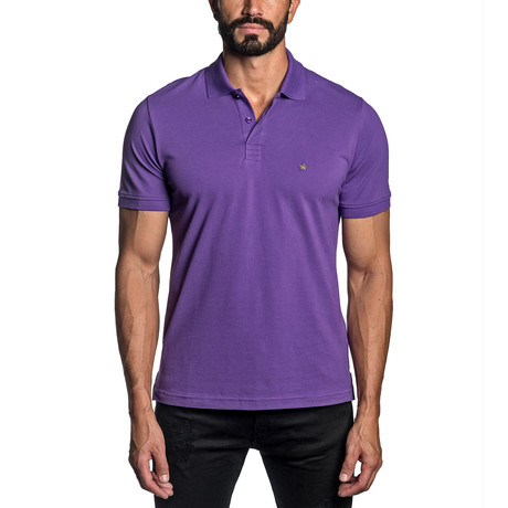 Star Embroidered Knit Polo // Purple (S)