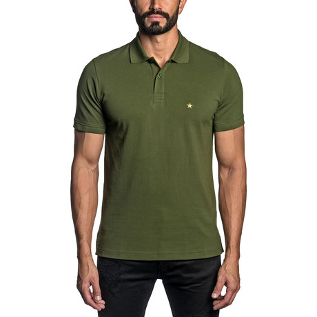 Star Embroidered Knit Polo // Military Green (S)