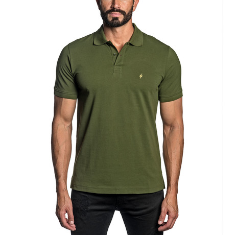 Lightning Bolt Embroidered Knit Polo // Military Green (S)