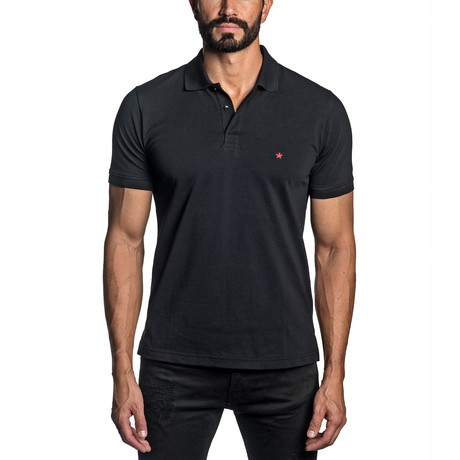 Star Embroidered Knit Polo // Black (S)