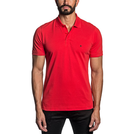 Star Embroidered Knit Polo // Red (S)
