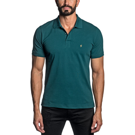 Lightning Bolt Embroidered Knit Polo // Teal (S)