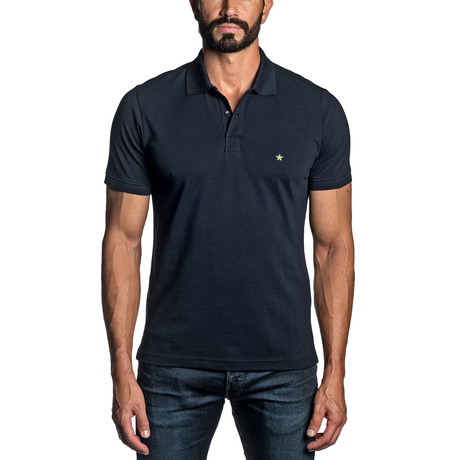 Star Embroidered Knit Polo // Navy (S)