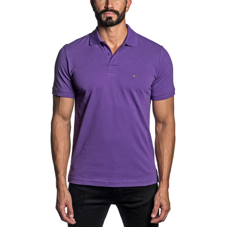 Lightning Bolt Embroidered Knit Polo // Purple (S)