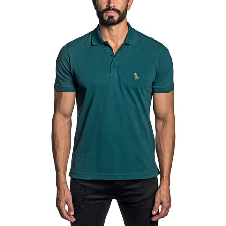 Dino Embroidered Knit Polo // Teal (S)