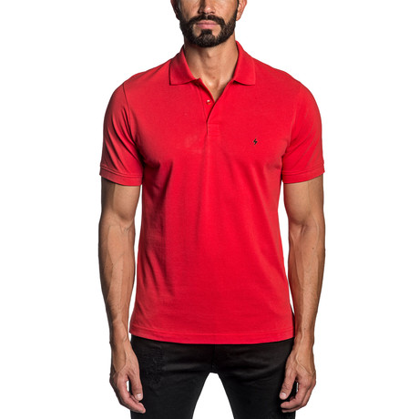 Lightning Bolt Embroidered Knit Polo // Red (S)