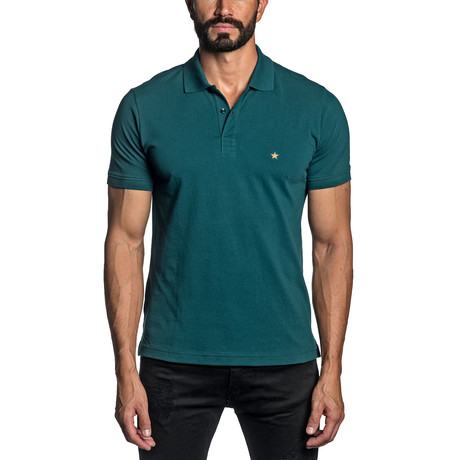 Star Embroidered Knit Polo // Teal (S)