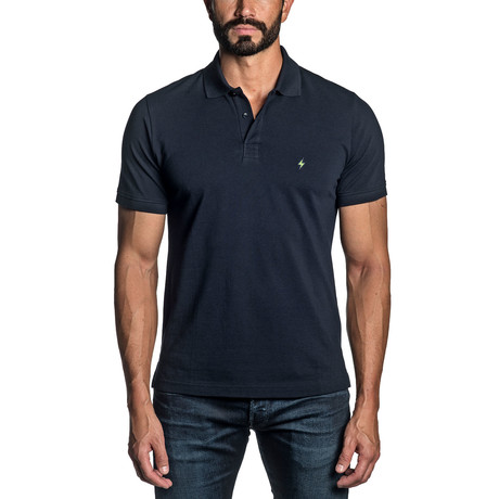 Lightning Bolt Embroidered Knit Polo // Navy (S)