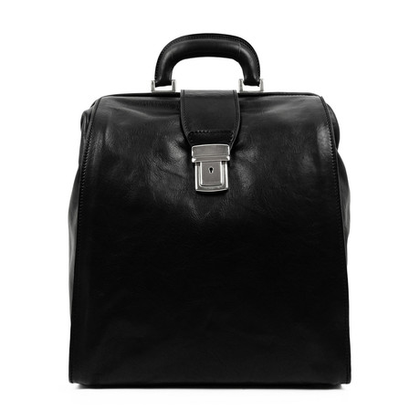 A Brief Story Of Time // Leather Backpack // Black