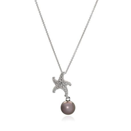 Mikimoto 18k White Gold Diamond + Black South Sea Pearl Pendant Necklace II // Store Display