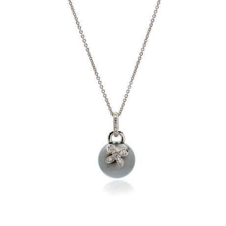 Mikimoto 18k White Gold Diamond + Black South Sea Pearl Pendant Necklace I // Store Display