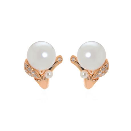 Mikimoto 18k Rose Gold Diamond + White South Sea Pearl Huggie Earrings // Store Display
