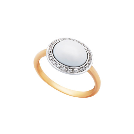 Mimi Milano 18k Two-Tone Gold Diamond + Agate Ring // Ring Size: 7.75 // Store Display