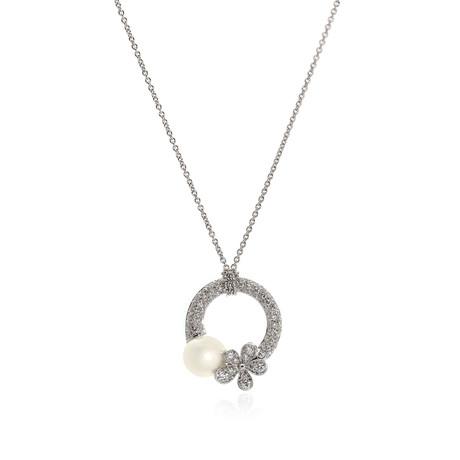 Mikimoto 18k White Gold Diamond + White South Sea Pearl Pendant Necklace I // Store Display