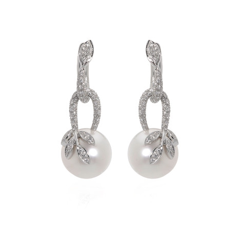 Mikimoto 18k White Gold Diamond + South Sea Pearl Dangle Earrings // Store Display