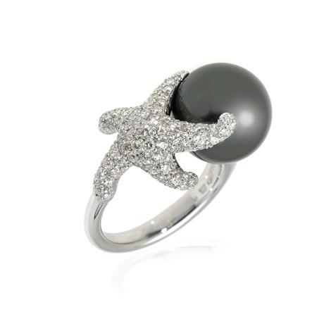 Mikimoto 18k White Gold Diamond + Black South Sea Pearl Cocktail Ring // Ring Size: 7 // Store Display