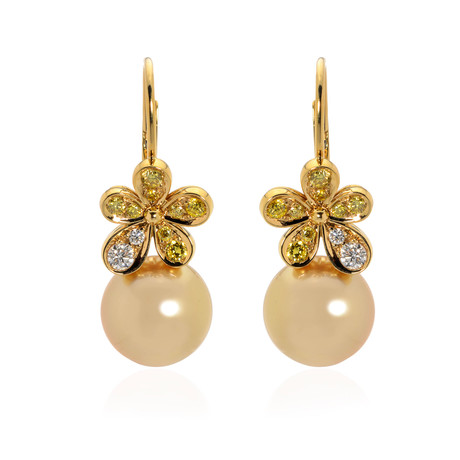 Mikimoto 18k Yellow Gold Diamond + Pearl Flower Drop Earrings // Store Display