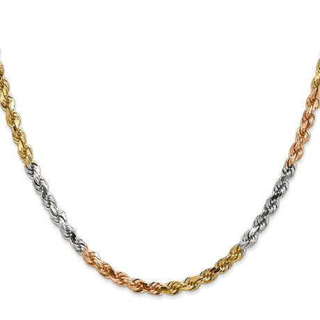 """Hollow 14K Gold Rope Chain Necklace // 3mm // White + Yellow + Rose (18"""" // 6g)"""