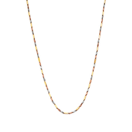 """Solid 14K Gold Tri-Color Gold Diamond Cut Nugget Chain Necklace // 1.8mm // Yellow + White + Rose (18"""" // 6.9g)"""