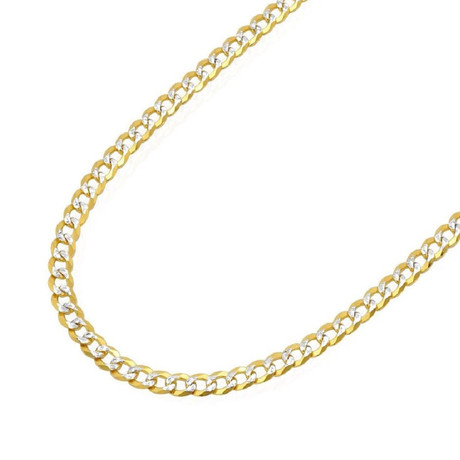 Solid 18K Two-Tone Gold Pave Cuban Curb Chain Bracelet // Yellow + White