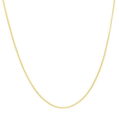 Solid 14K Gold Box Chain Necklace // Yellow