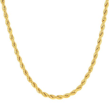 """Hollow 14K Gold Rope Chain Necklace // 3mm // Yellow (20"""" // 3.5g)"""
