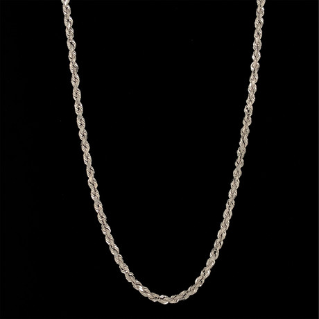 """Hollow 14K Gold Rope Chain Necklace // 3mm // White (20"""" // 3.5g)"""