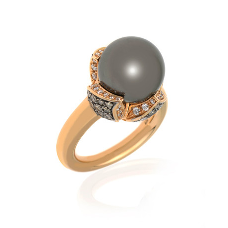 Mikimoto 18k Rose Gold Diamond + South Sea Pearl Cocktail Ring // Ring Size: 6.75 // Store Display