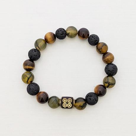 Dragons Veins + Lava + Tiger's Eye Bead Bracelet // Black + Olive + Brown