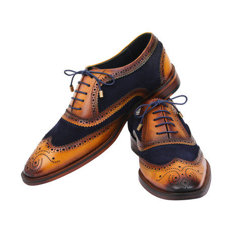 Wingtip Brogue Oxford // Tan + Navy Blue (US: 8)