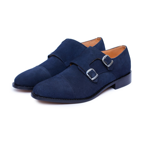 Goodyear Welted Captoe Double Monk Strap // Navy (US: 8)