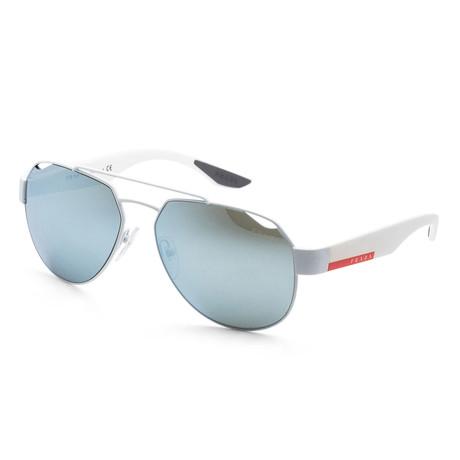 Men's PS57US TWK5K259 Polarized Sunglasses // White Rubber + Green Mirror