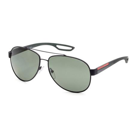 Men's PS55QS-DG05X162 Polarized Sunglasses // Black Rubber + Polar Green