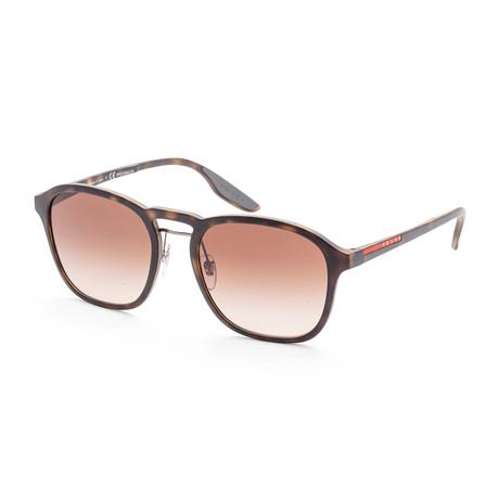 Men's PS02SS-U616S155 Linea Rossa Sunglasses // Havana Rubber + Brown Gradient