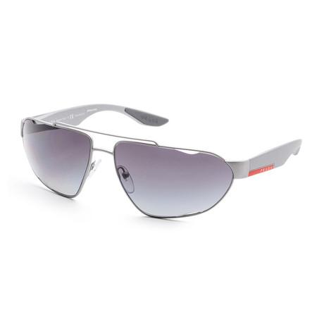 Men's PS56US-4495W166 Linea Rossa Polarized Sunglasses // Silver + Polar Gray Gradient