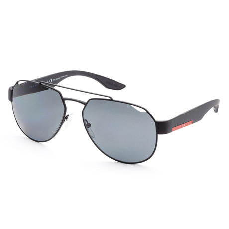 Men's PS57US-DG05Z159 Linea Rossa Polarized Sunglasses // Black Rubber + Gray