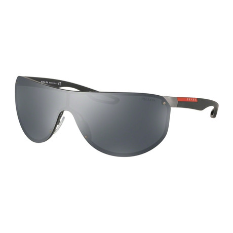 Men's PS61US-5L05L0 Linea Rossa Sunglasses // Gunmetal Rubber + Black + Gray Mirror