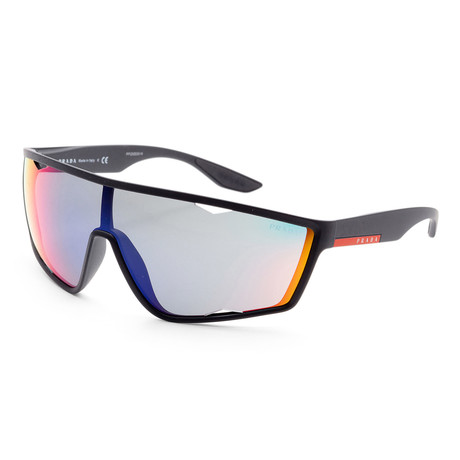 Men's PS09U-DG09Q1 Linea Rossa Sunglasses // Black Rubber + Blue Red Mirror