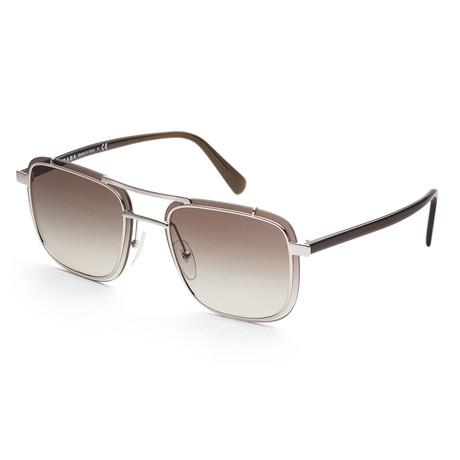 Men's PR59US-1BC4K159 Fashion Sunglasses // Silver + Brown