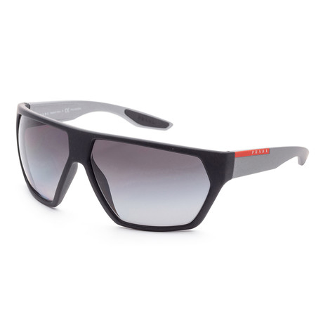 Men's PS08US-4535W167 Linea Rossa Polarized Sunglasses // Black Rubber + Polar Gray Gradient